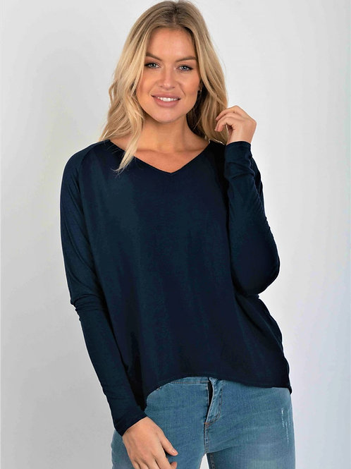 Black viscose front top by Suzy D