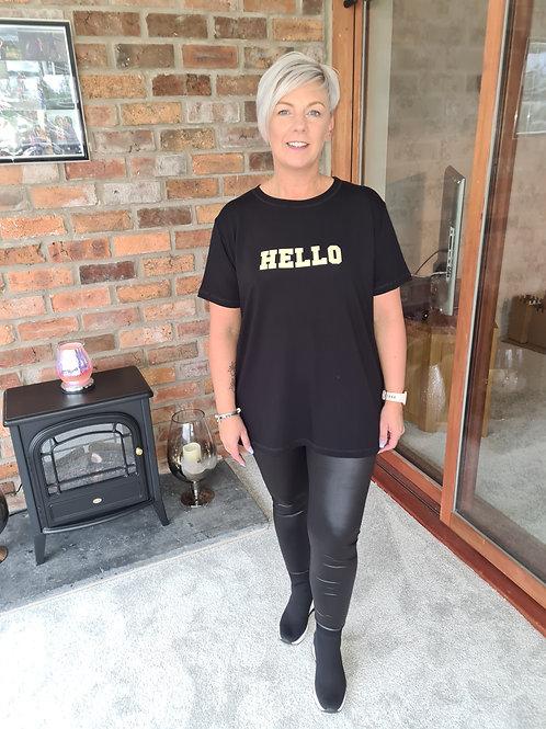 Black Hello slogan t shirt by Sundae Tee