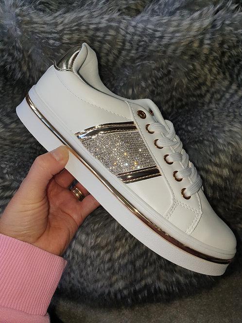 White gold stripe trainers