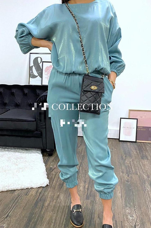 Teal silk lounge set