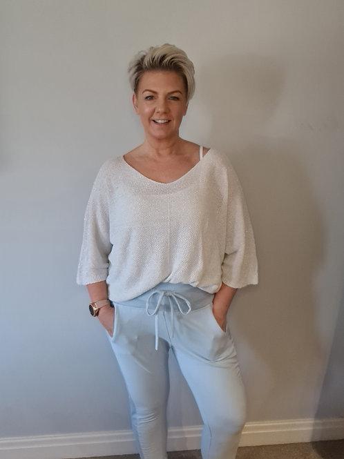 White sparkle  lightweight knit by Suzy D London