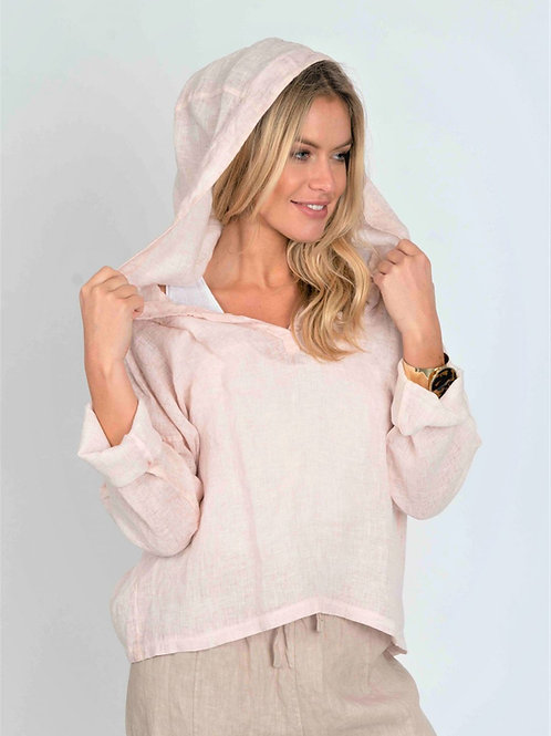 Pink linen hoodie by Suzy D London