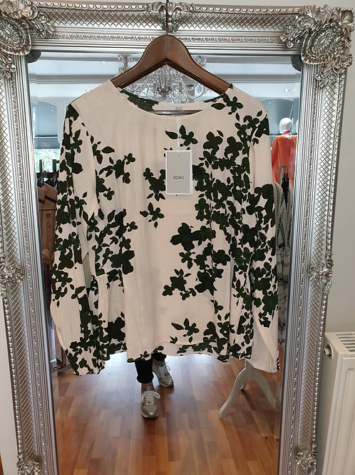 Beige and green top by ICHI