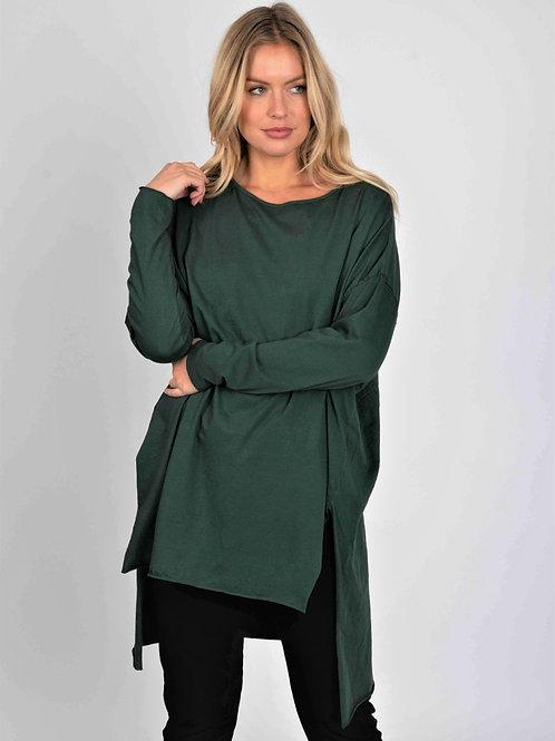 Green side split tunic top by Suzy D London