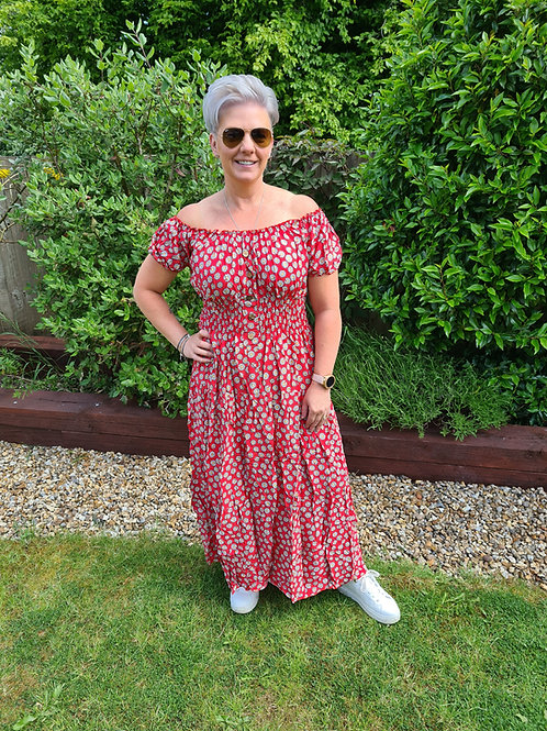 Red daisy print bardot dress