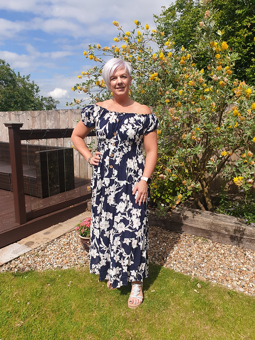 Navy and white flower maxi dress