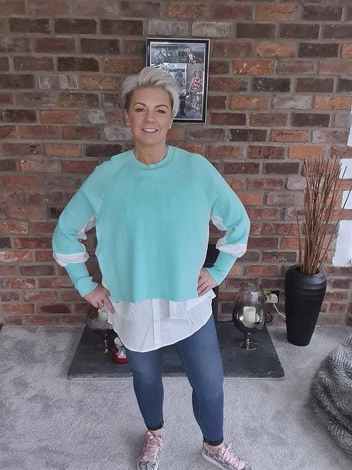 Mint jumper with shirt trim