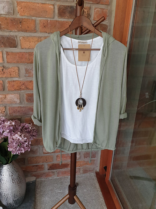 2 in 1 khaki hoodie with vest