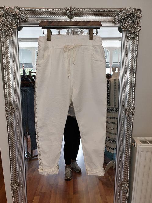 White soft feel denim jogger with diamante trim