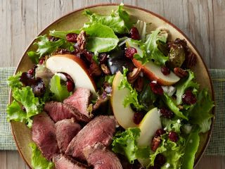 Kick off Nutrition Month with  Beef Tenderloin, Pear & Cranberry Salad