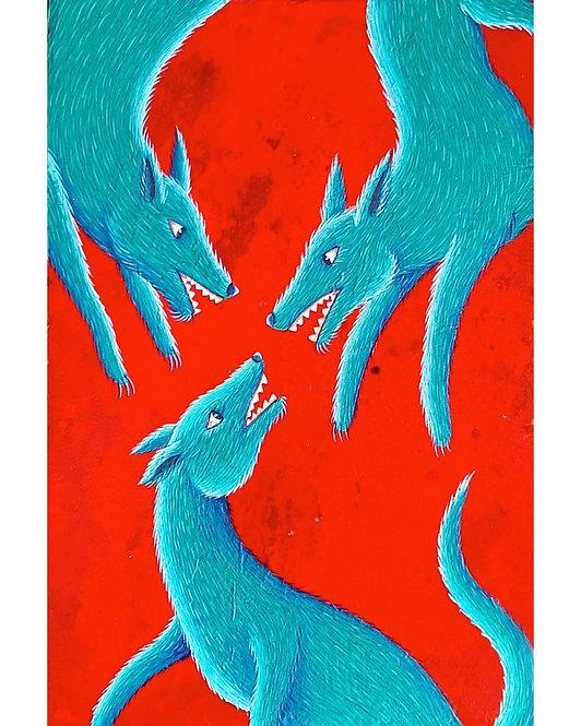 Three Wolves Faced - Salvador Manzano Carabante - FMB Art Gallery