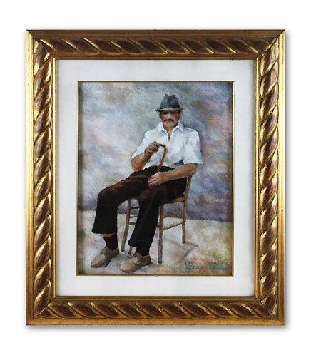 Vecchio seduto con bastone - Letizia Peraccini - FMB Art Gallery