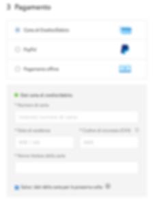 Pagina Checkout (inserimento dati carta di credito)