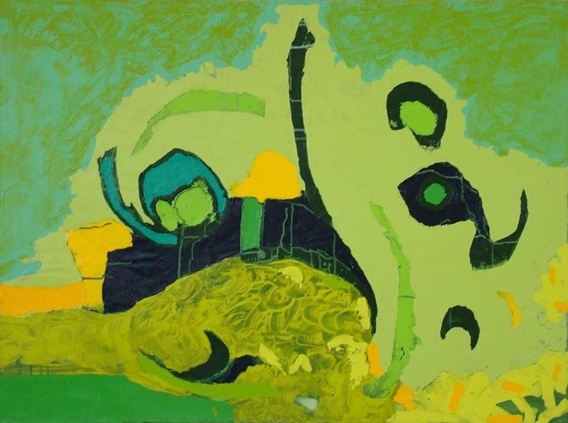 Pez, 0.70 m x 1.00 m, acrílico y oleo pastel sobre tela, 2007
