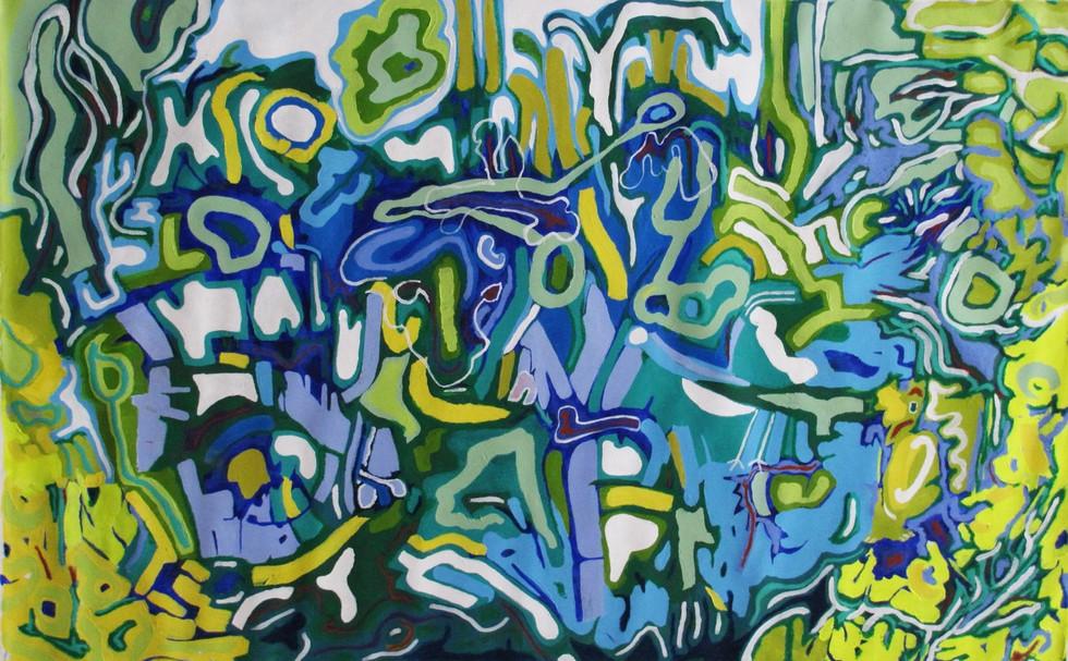 Tropical, 0.80 m x 1.28 m, acrílico y óleo pastel sobre tela, 2015.