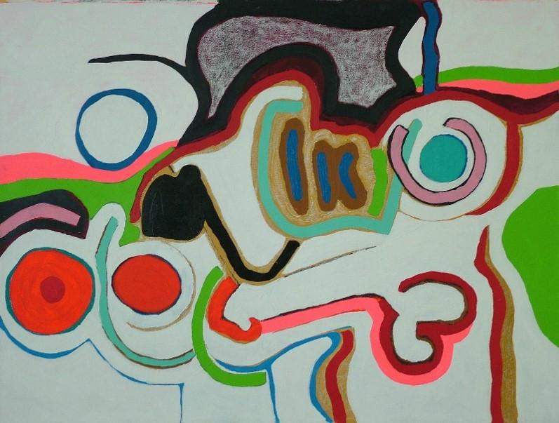 Sin Título, 0.70 m x 1.00 m, acrílico y oleo pastel sobre tela, 2007