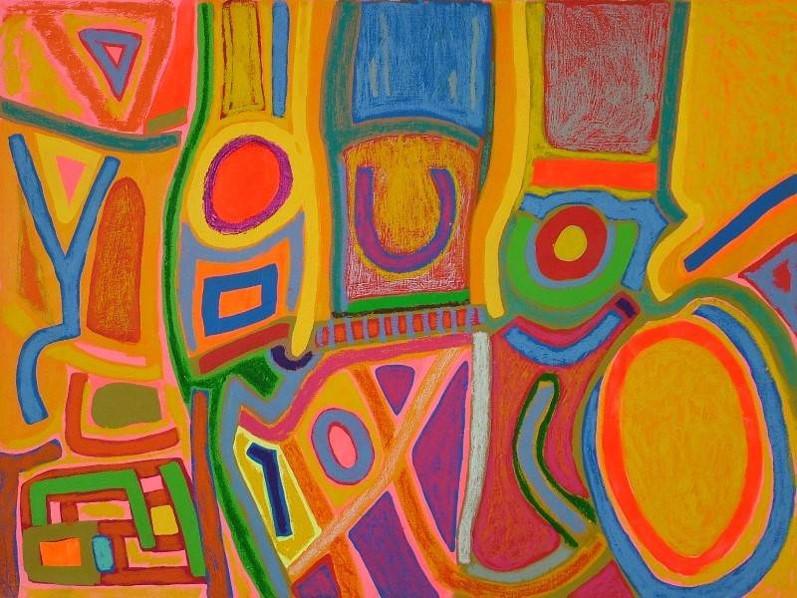 Nativo, 0.70 m x 1.00 m, acrílico y oleo pastel sobre tela, 2007