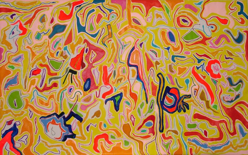 Primavera, 0.70 m x 1.40 m, acrílico y oleo pastel sobre tela, 2010