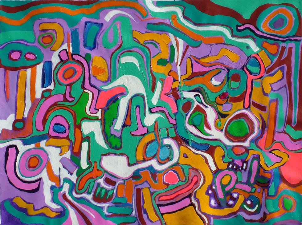Sin Título, 0.70 m x 1.00 m, acrílico y oleo pastel sobre tela, 2008