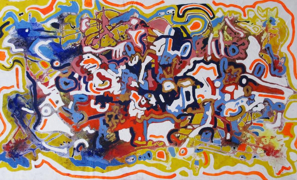 Te Esperé, 1.00 m x 1.65 m, acrílico, pigmento y óleo pastel sobre tela, 2015