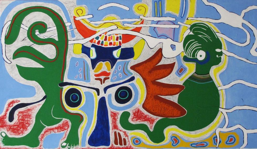 La vaca, el Indio y el Monstruo,  0.93 m x 1.58 m, acrílico, pastel y pastel al óleo sobre tela, 2015