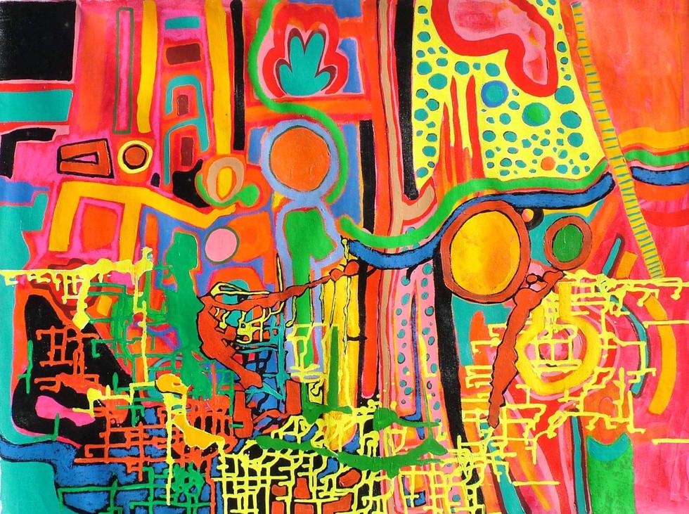 Fachero, 0.70 m x 1.00 m, acrílico y oleo pastel sobre tela, 2008
