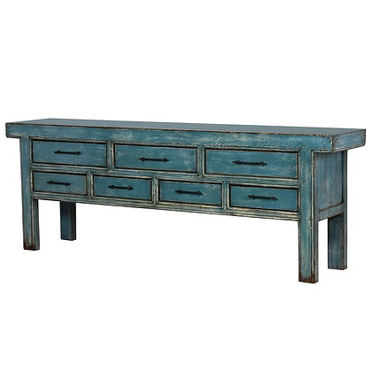 Blue Antique 7 Draw Chinese Console Table