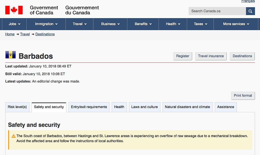 Government of Canada Travel Advisory for Barbados
