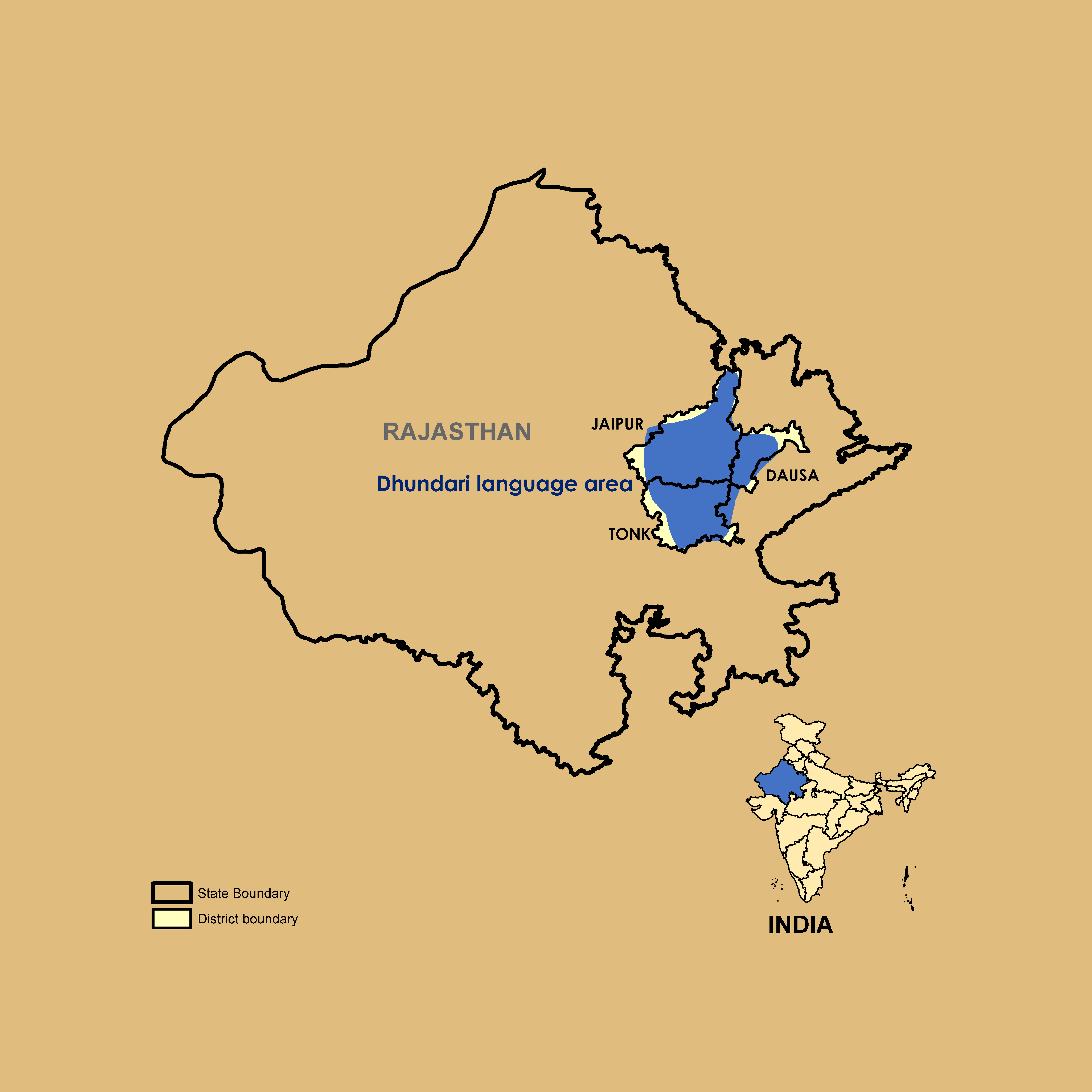 Map of Dhundari Speaking Region