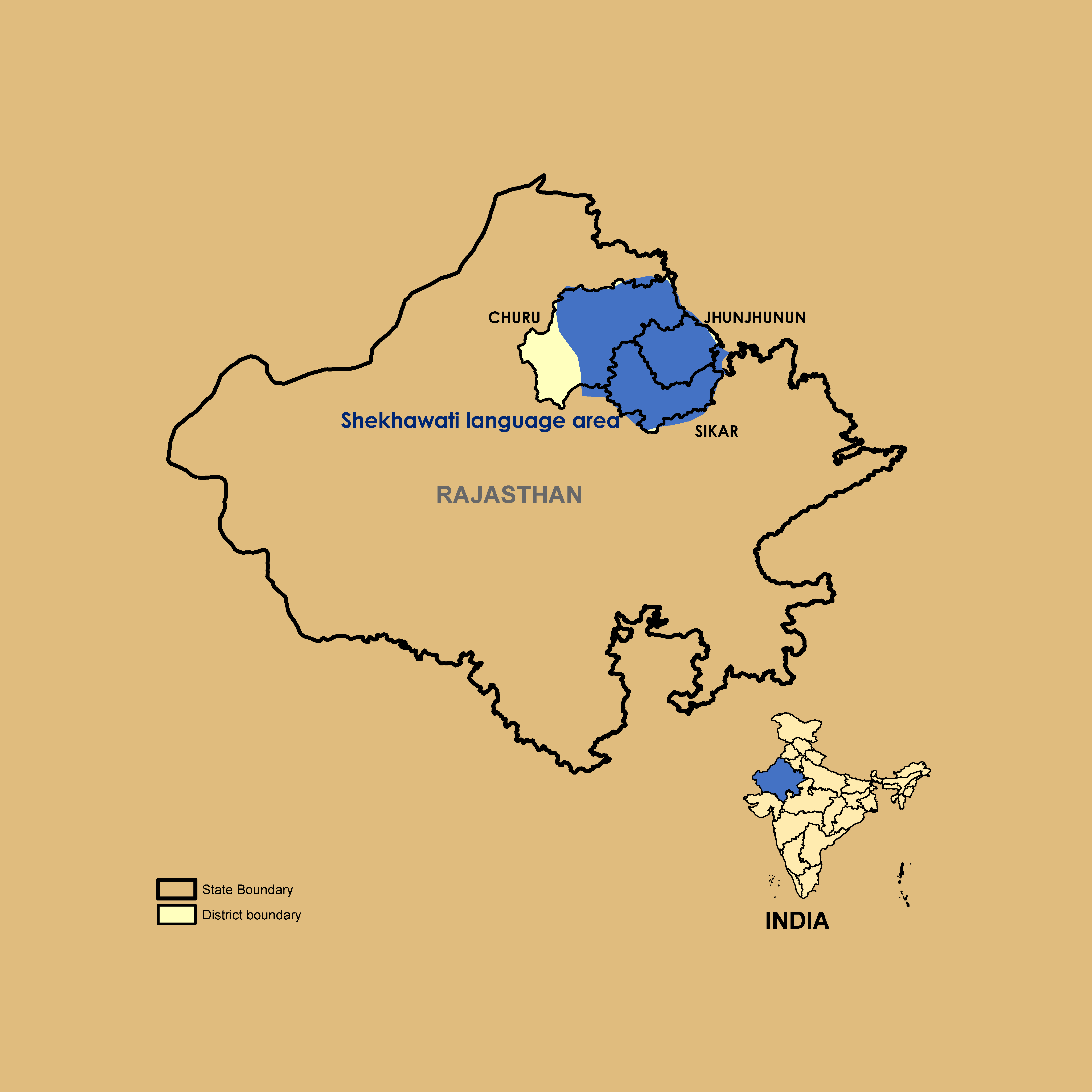 Map of Shekawati Speaking Region