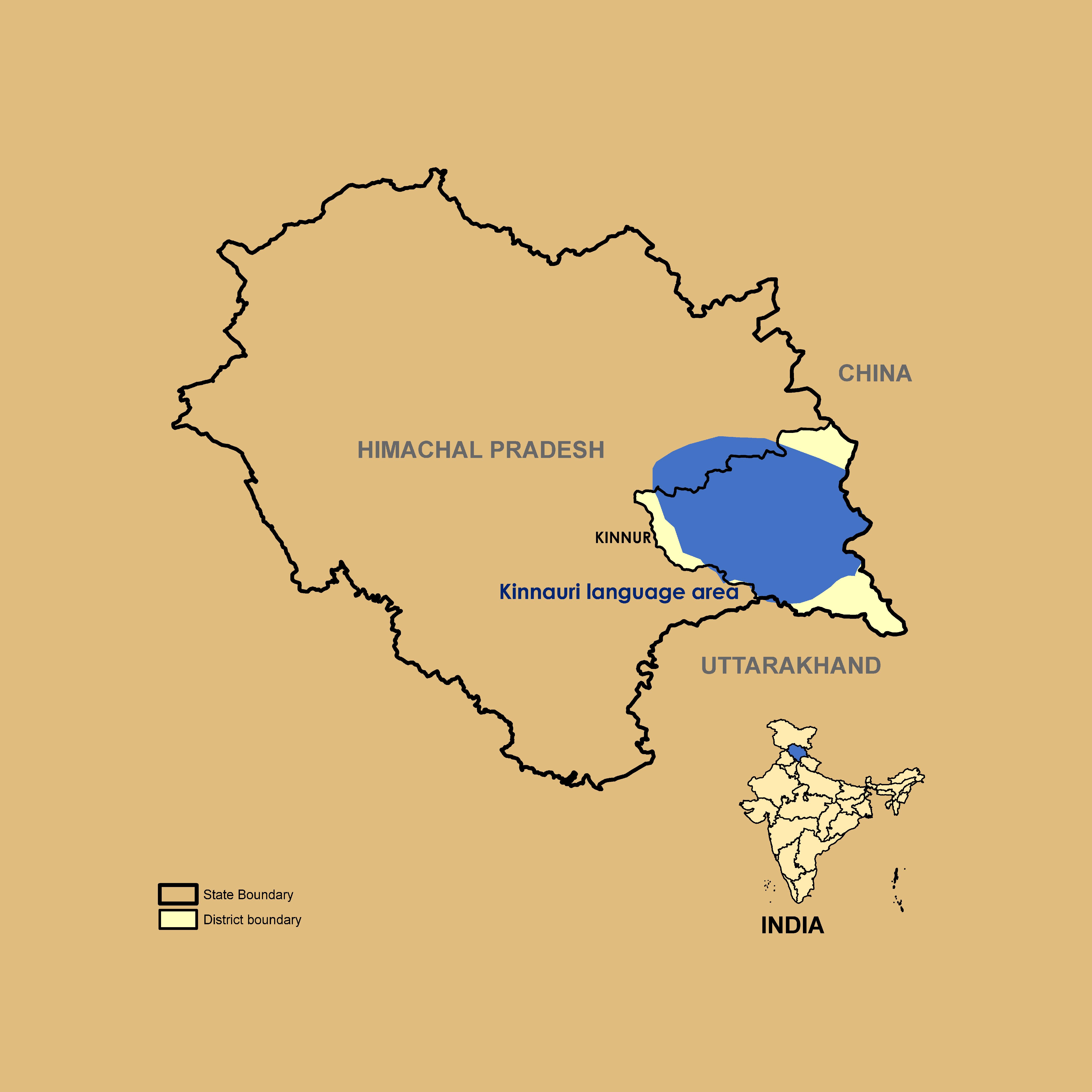 Map of Kinnauri Speaking Region