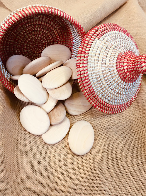 Large Wooden Pebble Basket