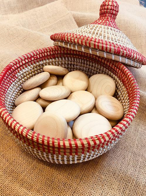 Medium Wooden Pebble Basket