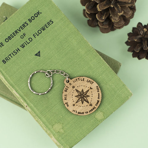'We all get a little lost' Wooden Keyring