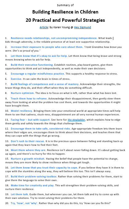 I recently read a great article by Karen Young, 'Building Resilience in Children - 20 Practical and Powerful Strategies'. To save you time and energy, I have created a summarised version. Just click here to download the full sized printable. You can find the complete article on the awesomely informative website 'Hey Sigmund'. #AnitaNess @EMBRACECalmerKids.com.au