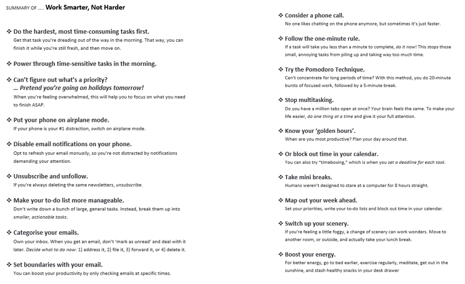 I have created a summarised version of a great article I found last week, 'How to Work Smarter, Not Harder' by Showpo - Productivity Hacks. Here is printable version of the summary as a full sized word doc. #AnitaNess @EMBRACECalmerKids.com.au