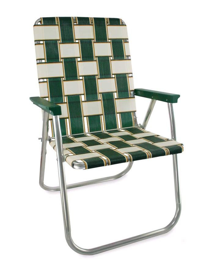 Lawn chair made from webbing to illustrate a sofa construction technique to avoid.