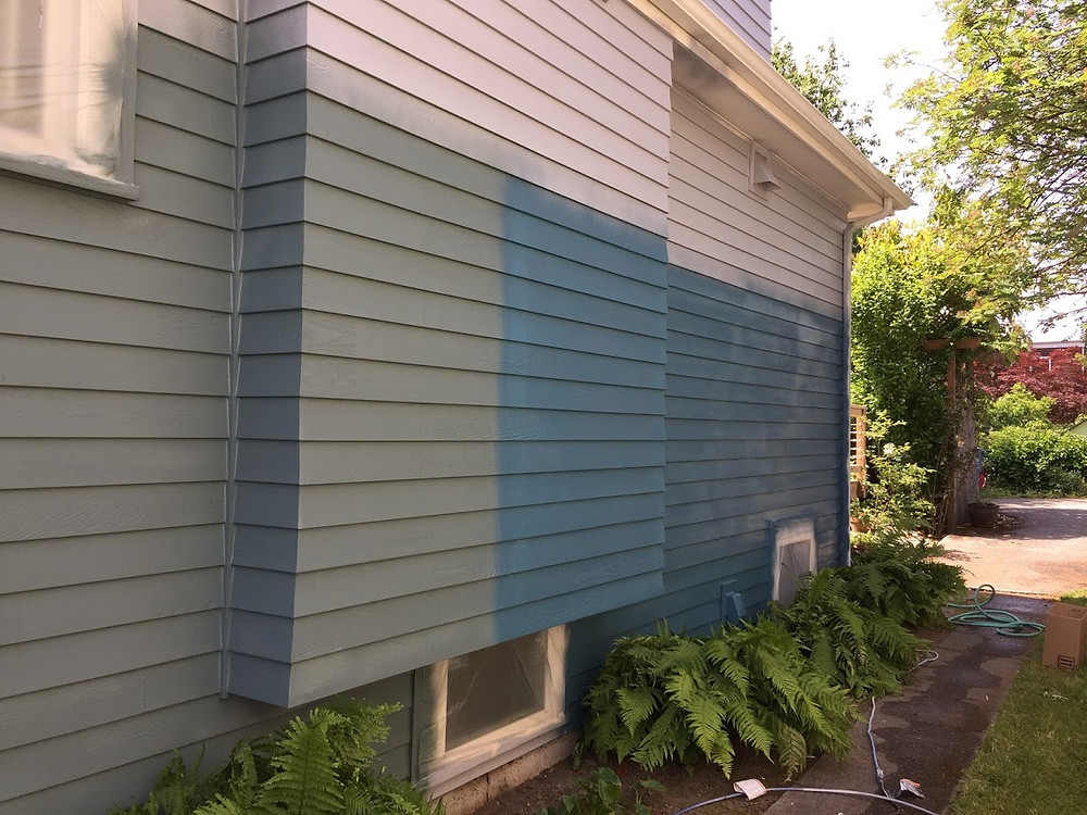 Large paint samples on the side of a house