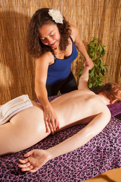 arms massage with stretching