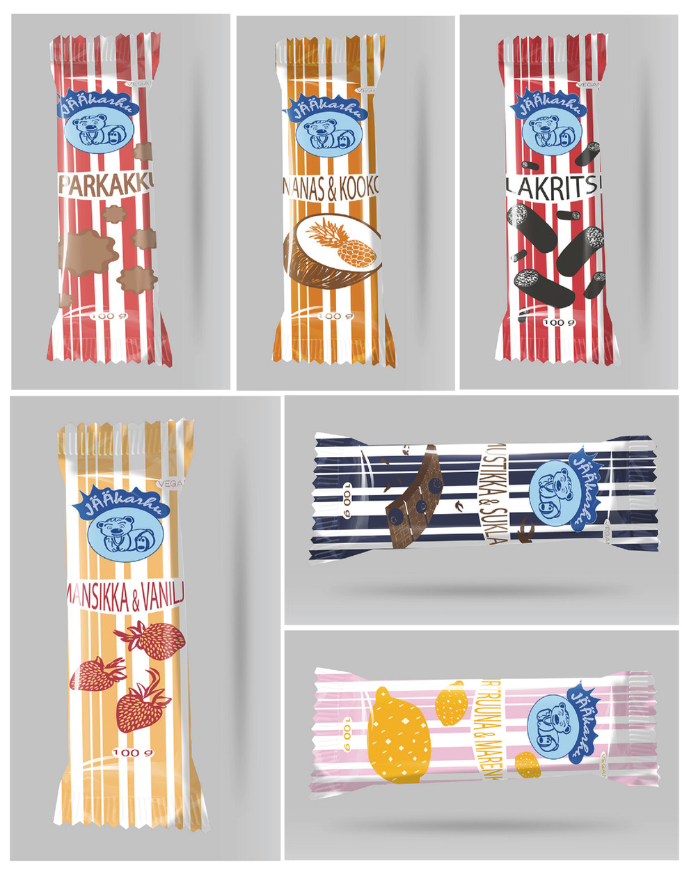 Design individual packages for 6 different flavors