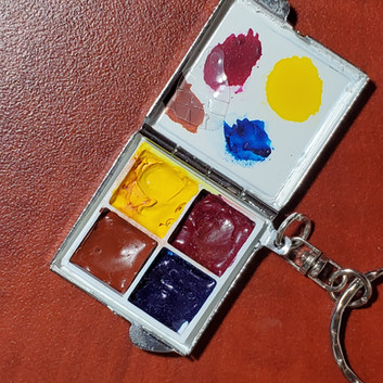 Watercolor travel Palette Keychain Pocket  1.5 square inches