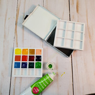 2.5 inches square Watercolor Palette with 2 inserts
