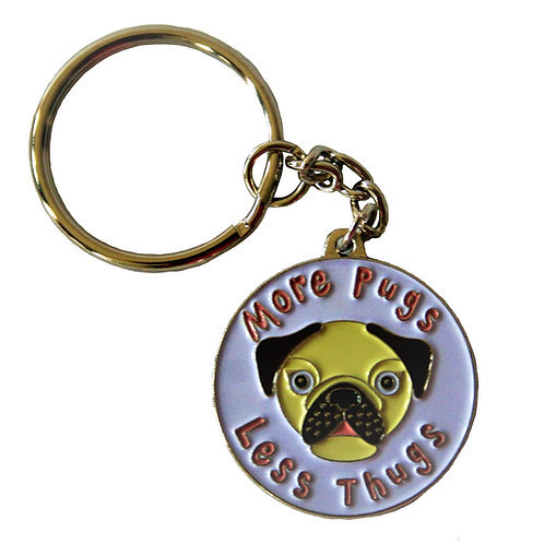 More Pugs less thugs - keyring