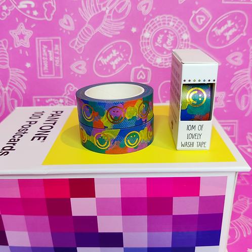 Rainbow Splodge Smiley Foiled Washi Tape