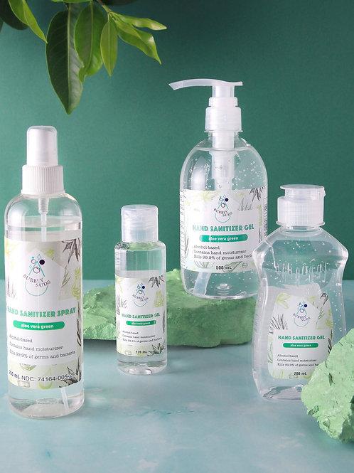 Hand Sanitizer Gel & Spray Aloe Vera Green Bundle - 120ml, 200ml, 250ml, 500ml