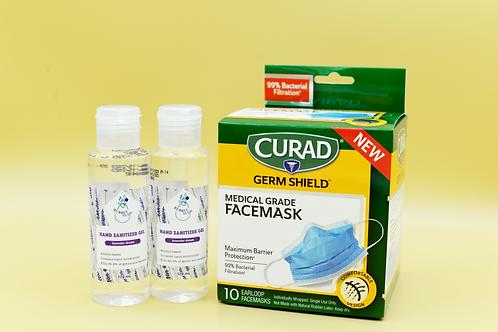 Set Curad Medical Grade Facemask and 2 Pack 4oz Hand Sanitizer