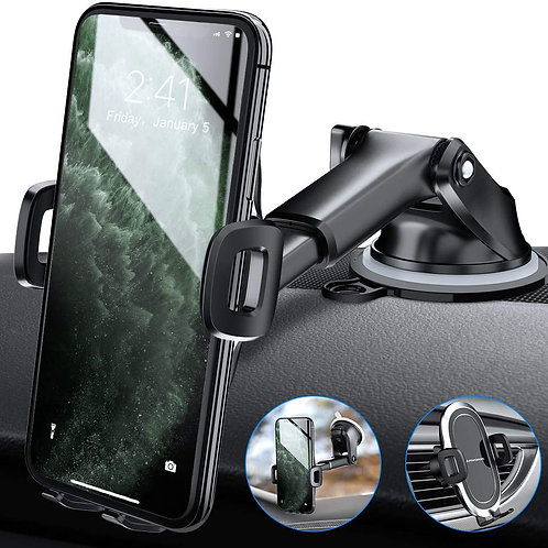 Car Phone Mount, One-Touch Cell Phone Holder for Dashboard, Windshield& Air Vent