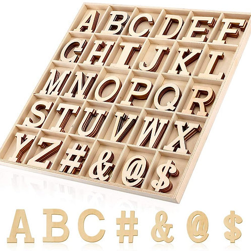 2 Inch Big Wooden Craft Alphabet Letters and Symbols with Storage Box