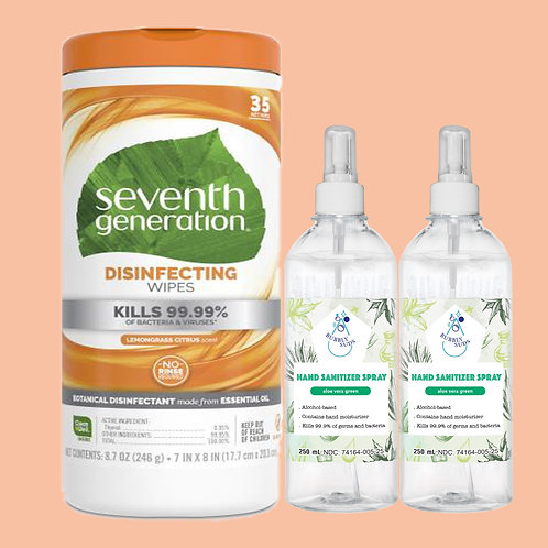 Seventh Generation Disinfecting Wipes (35wipes)+(Set of 2) Hand Sanitizer Spray