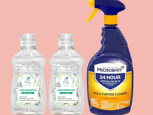 Microban 24Hour Multi-Purpose Cleaner 32oz + Set of 2 Hand Sanitizer 200mL